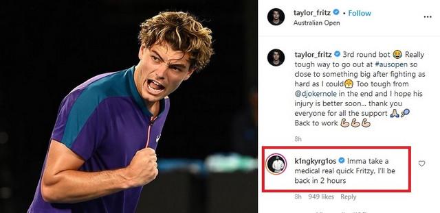 Nik Kirjos ismeva povredu Novaka Đokovića na Instagram nalogu Tejlora Frica