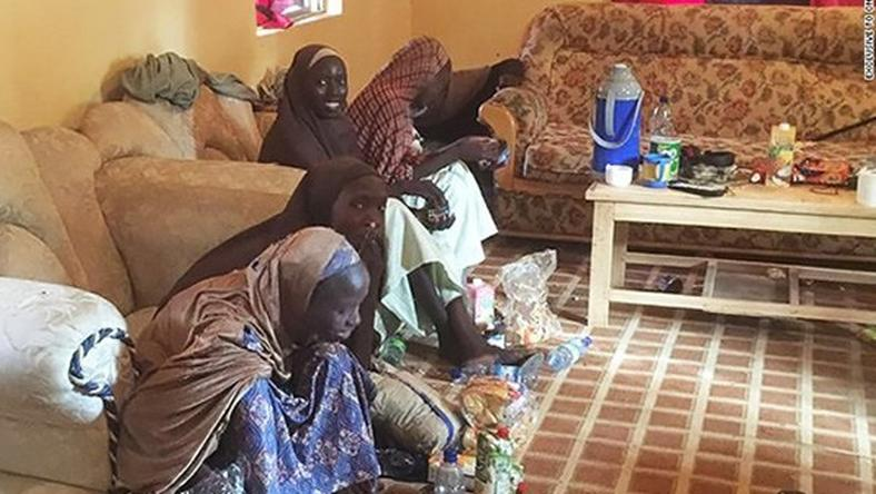 Some of the 21 released Chibok girls in Banki, Borno State on October 13.