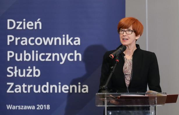 Minister rodziny, pracy i polityki społecznej Elżbieta Rafalska podczas obchodów Dnia Pracownika Publicznych Służb Zatrudnienia w Warszawie.