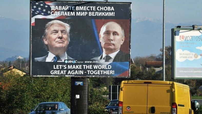 A billboard showing US President-elect Donald Trump and Russian President Vladimir Putin put up by the pro-Serbian movement in Danilovgrad, Montenegro