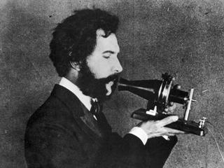 ALEXANDER GRAHAM BELL /n(1847-1922). American (Scottish-born) teacher and inventor. Bell speaking in