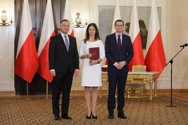 Minister sportu Danuta Dmowska-Andrzejuk w towarzystwie prezydenta i premiera