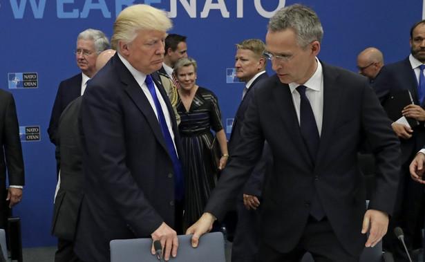 Donald Trump i Jens Stoltenberg na szczycie NATO