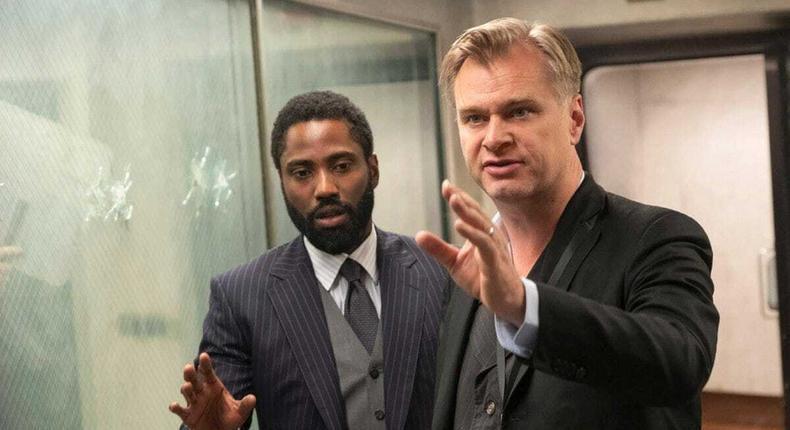 Christopher Nolan with John David Washington on the set of Tenet.