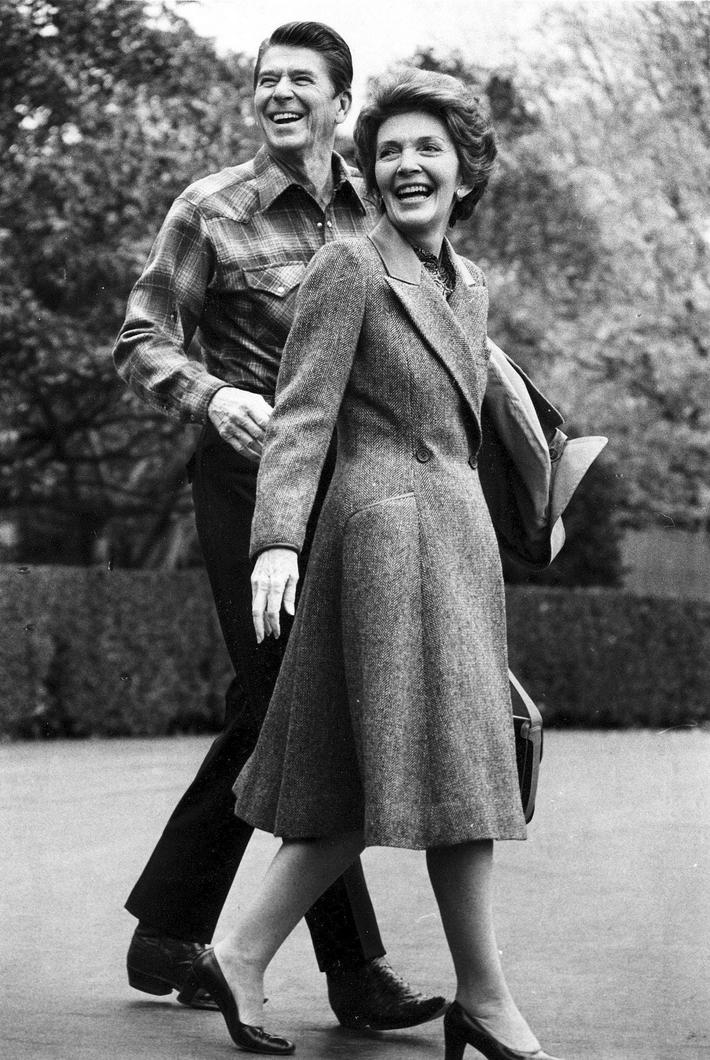 File photo of U.S. President Ronald Reagan and first lady Nancy Reagan leaving the White House
