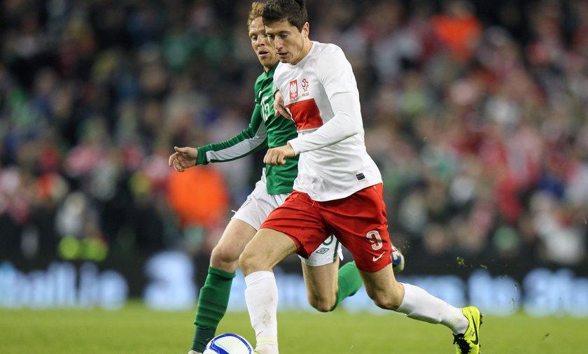 Robert Lewandowski w meczu z Irlandią