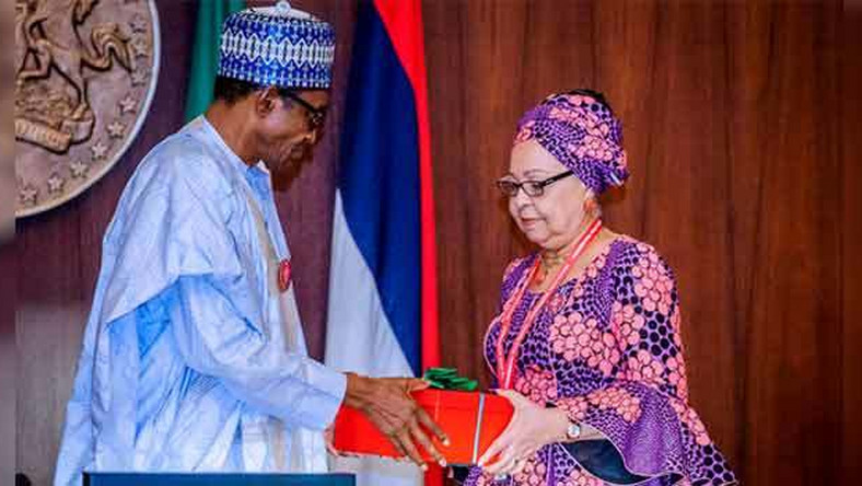 President Muhammdu Buhari receiving the report of the Tripartite Committee on the Review of National Minimum Wage from the Committee Chairman, Mrs Amal Pepple, at the State House on November 6, 2018. (NAN)