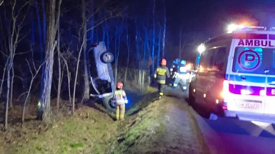 Powiat sieradzki: Samochód uderzył w drzewo. Kierowca uciekł z miejsca wypadku