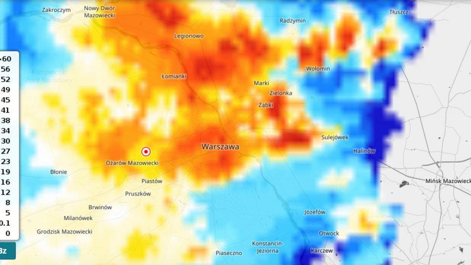 Burza w Warszawie na radarach
