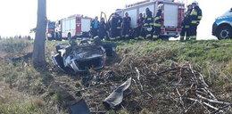 Przerażający wypadek w Krapkowicach. Z auta niewiele zostało