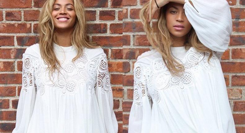 Pop singer, Beyonce rocking a flared white dress