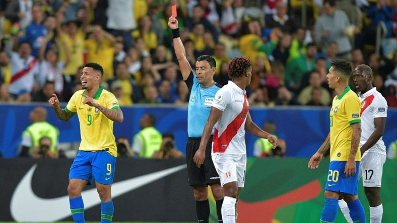 Brazil's Gabriel Jesus is distraught after seeing red in Brazil's 3-1 Copa America final victory over Peru
