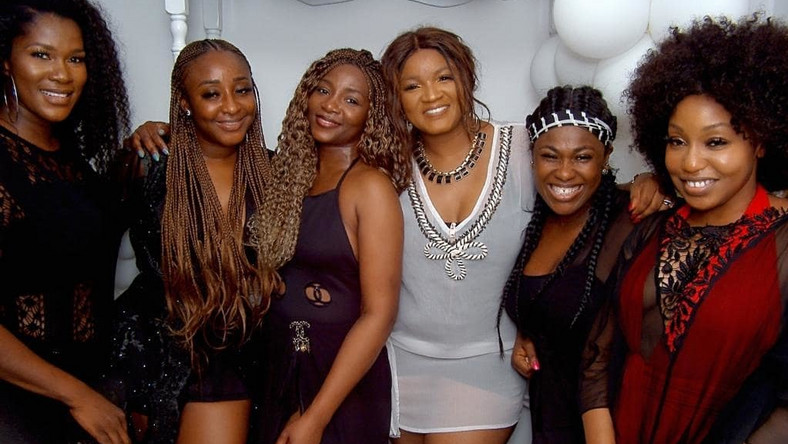 When you have Ini Edo, Genevieve Nnaji, Omotola Jalade-Ekeinde, Uche Jombo, Rita Dominic and Stephenie Linus in one photo, then you know its a sign of good luck [Instagram/UcheJombo]