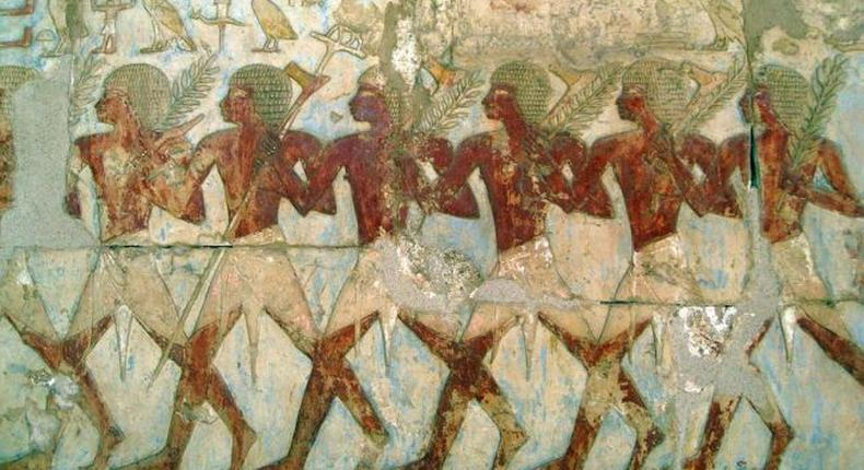 A fine relief of members of Hatshepsut's trading expedition to the mysterious Land of Punt from this pharaoh's elegant mortuary temple at Deir El-Bahri. In this scene, Egyptian soldiers bear tree branches and axes. (Image credit: Creative Commons, Courtesy of Wikipedia)