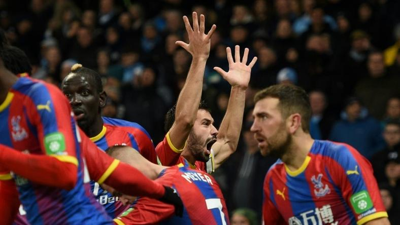 Crystal Palace's Luka Milivojevic celebrates scoring his side's third goal in a shock win at Manchester City
