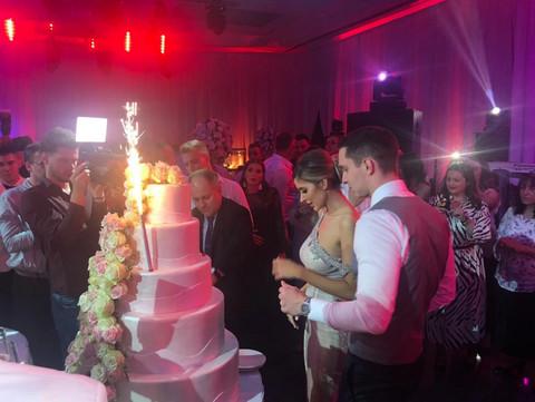 Atmosfera došla do vrhunca: Stigla mladenačka torta, Dragana i Miloš presrećni! FOTO+VIDEO