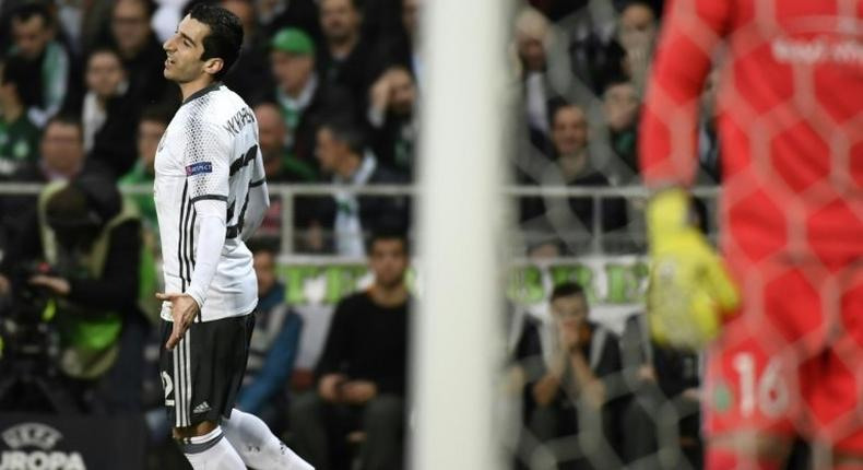 Manchester's United's Henrikh Mkhitaryan celebrates after scoring a goal during their UEFA Europa League football match against AS Saint-Etienne on February 22, 2017 in Saint-Etienne, central France