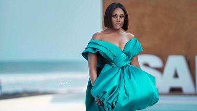 Nana Akua Addo brings all the drama in a Yartel custom dress at the Ghana women of the year honours 2021