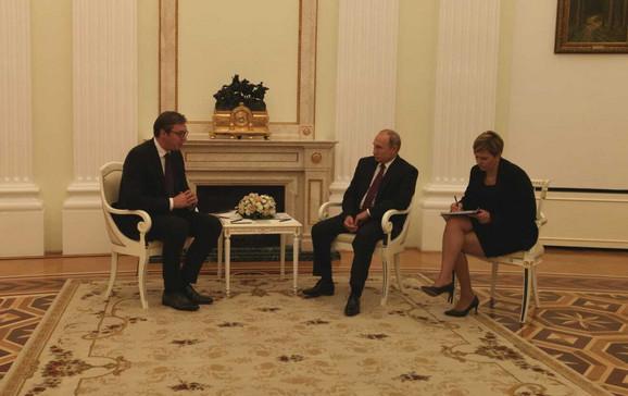 Aleksandar Vučić i Vladimir Putin tokom današnjeg susreta u Moskvi