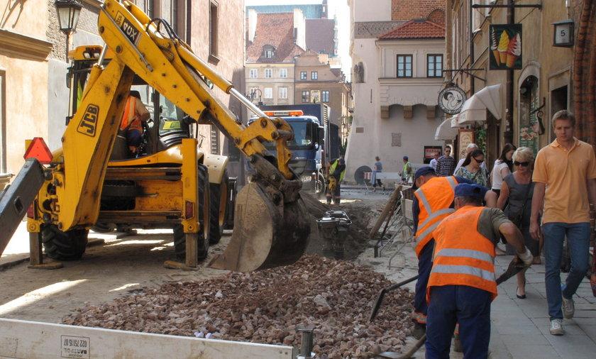 Remont nawierzchni na Starówce w Warszawie