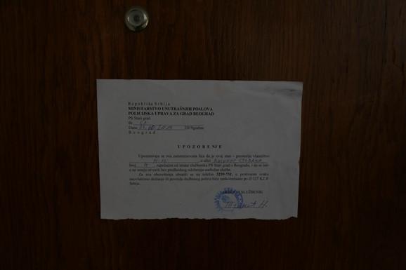 Stan zapečaćen, policija postavila obaveštenje