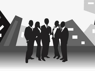 vector image of business team standing in front of office buildings
