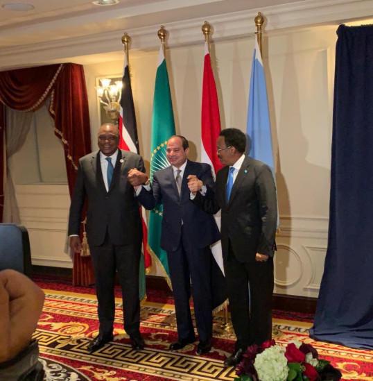 Egypt's President Abdelfattah al-Sisi (M) with Kenyan President Uhuru Kenyatta (L)  and Somalian President Mohamed Farmaajo (R).