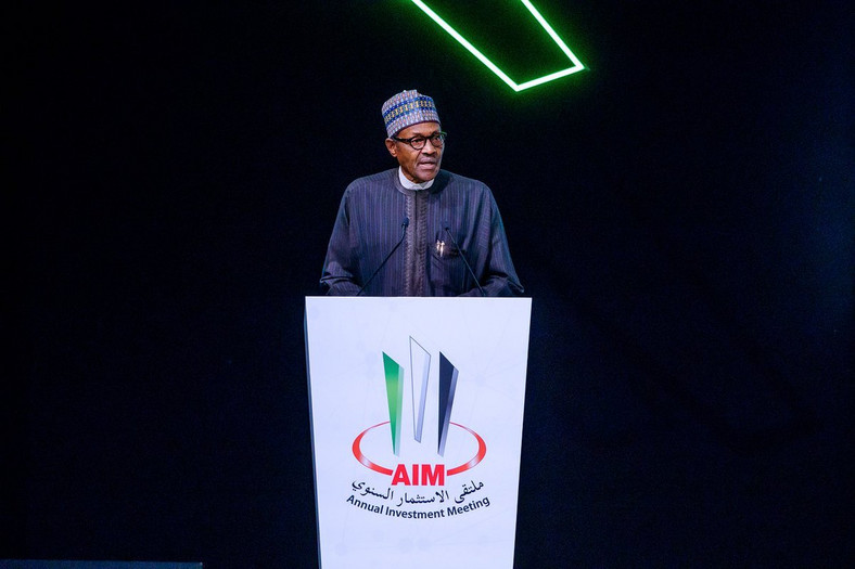 President Muhammadu Buhari delivering his keynote address at the Annual Investment Meeting in Dubai, UAE  [Twitter/NGRPresident]