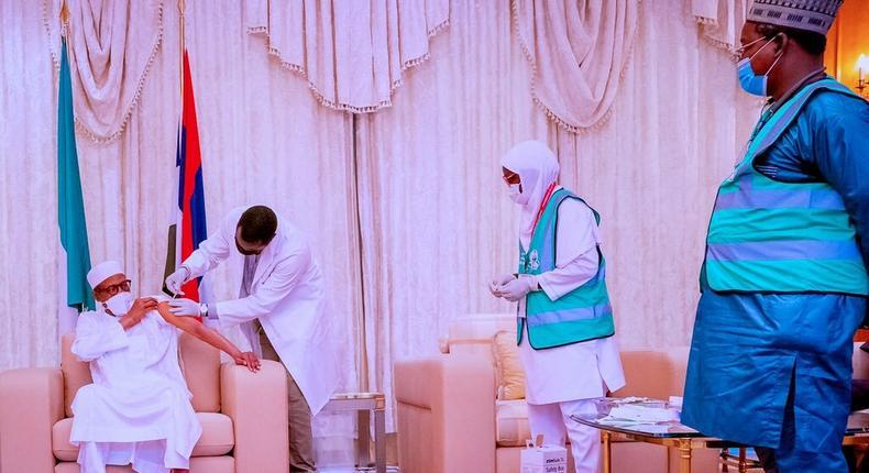 President Muhammadu Buhari receives second dose of COVID-19 vaccine (Twitter/Ahmad Bashir)