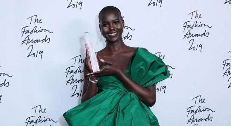 Adut Akech wins the 'Model of the Year' Award during The Fashion Awards 2019 held at Royal Albert Hall on December 02, 2019 in London, England. (Photo by Tim Whitby/BFC/Getty Images)