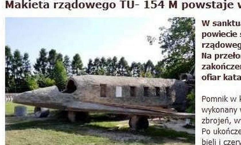 Budują pomnik makietę TU 154M