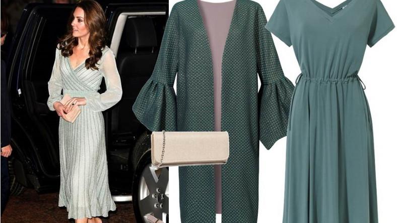 Aby wyglądać jak księżna Catherine, wystarczy założyć zwiewną, lekko rozkloszowaną sukienkę w kolorze rozbielonego szarego turkusu lub zielono-błękitny płaszcz z dekoracyjnymi rękawami. Do tego jasnozłota kopertówka i szpilki i możemy biec na bal! NA ZDJĘCIU: Płaszcz - Cosel/cosel.moda, sukienka - Cotton Club/cottonclub.pl, buty, torebka - Menbur/menbur.pl.
