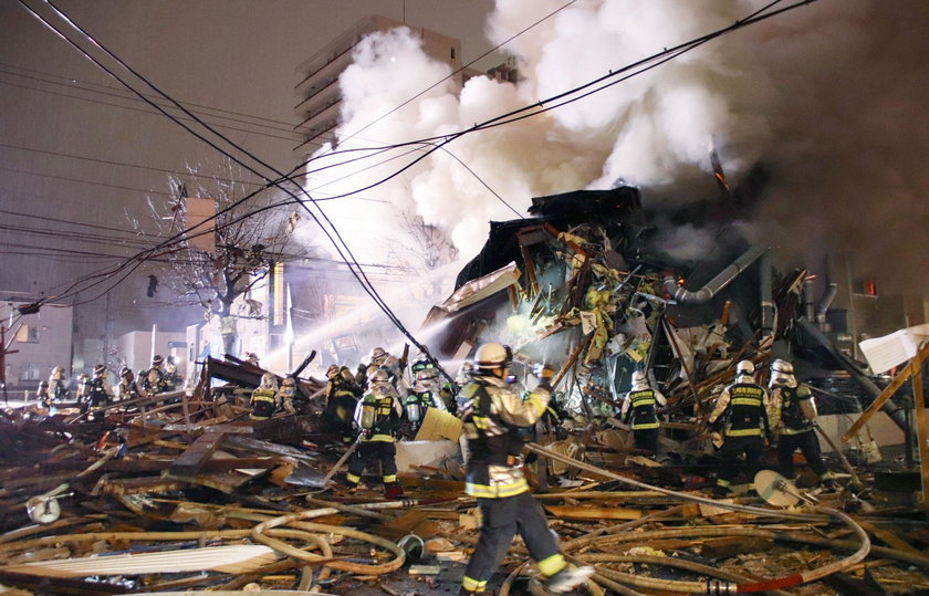 A view of a site of an explosion at a bar in Sapporo