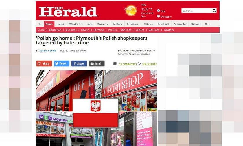 """Na ścianie polskiego sklepu spożywczego w Plymouth pojawił się napis """"Polish go home"""""""