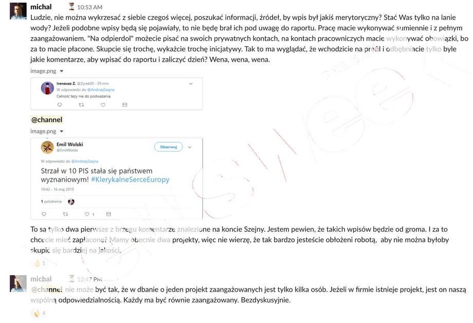 Screeny z wewnętrznego komunikatora farmy trolli
