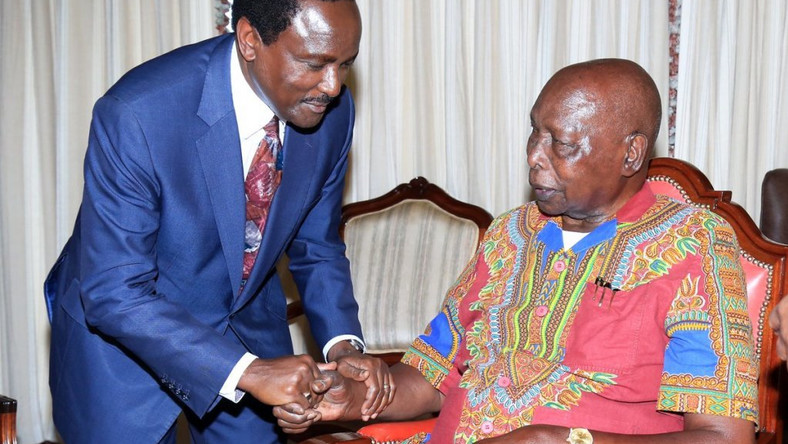 Wiper leader Kalonzo Musyoka with retired President Daniel Arap Moi at Kabarak