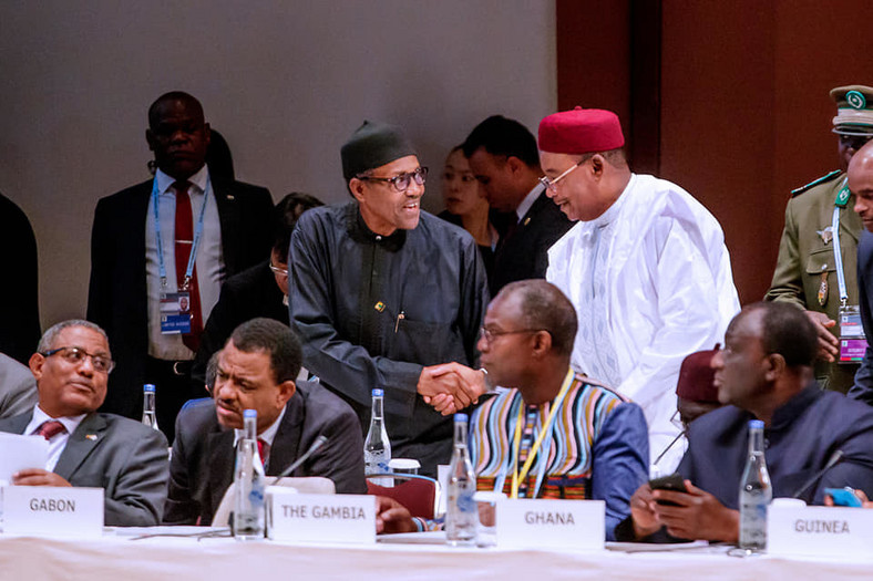 President Muhammadu Buhari  participates at the Plenary Session 3 (Facebook/Femi Adesina)
