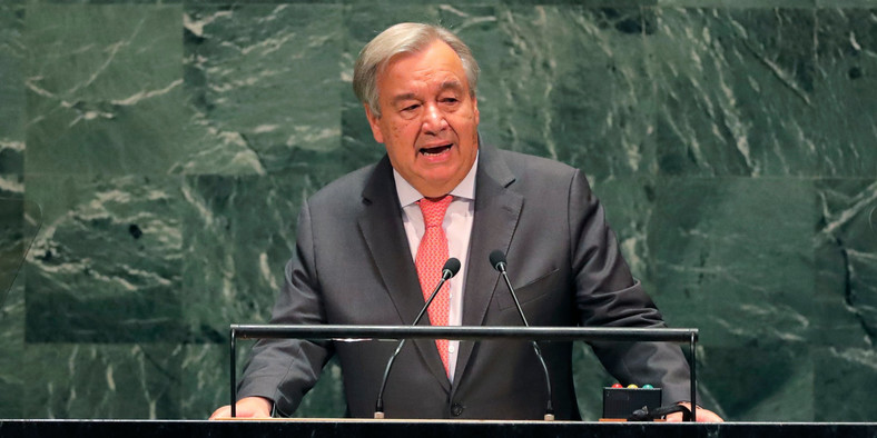 FILE PHOTO: United Nations Secretary General Antonio Guterres addresses the opening of the 74th session of the United Nations General Assembly at U.N. headquarters in New York City, New York, U.S., September 24, 2019. REUTERS/Lucas Jackson