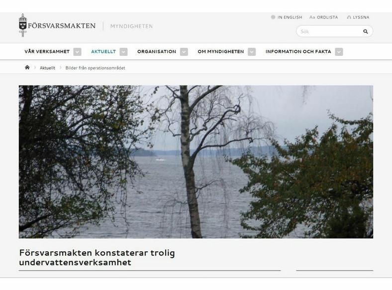 """Tajemniczy okręt podwodny u wybrzeży Szwecji (fot. """"Försvarsmakten"""")"""