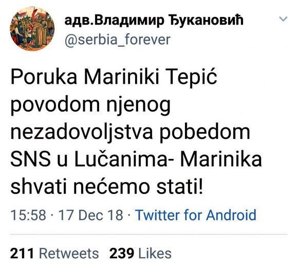Tvit Vladimira Đukanovića