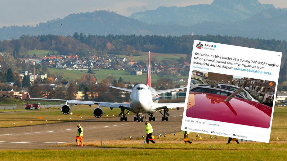Boeing 747 zgubił części silnika - zdjęcie ilustracyjne