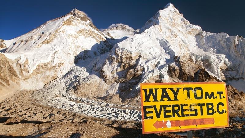 Mount Everest, Lhotse i Nuptse, widok z bazy Pumo Ri