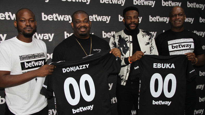 L-R: Lere Awokoya; Country Manager, Betway Nigeria, Don Jazzy; Superstar producer, Ebuka Obi-Uchendu; Media Personality and BBNaija Host and Chris Ubosi; Managing Director, Megalectrics Limited and Director, Digibay during the Betway BBNaija Ambassador's signing ceremony yesterday.