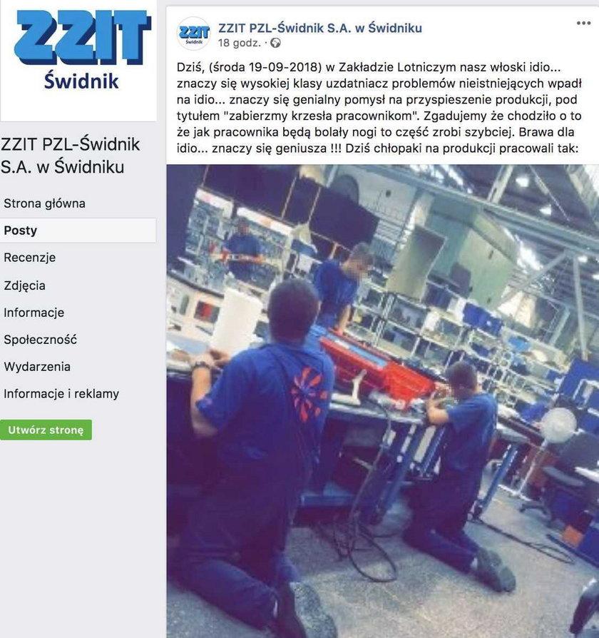 Polscy pracownicy klęczą przy taśmie produkcyjnej. Krzesła tylko dla władz?
