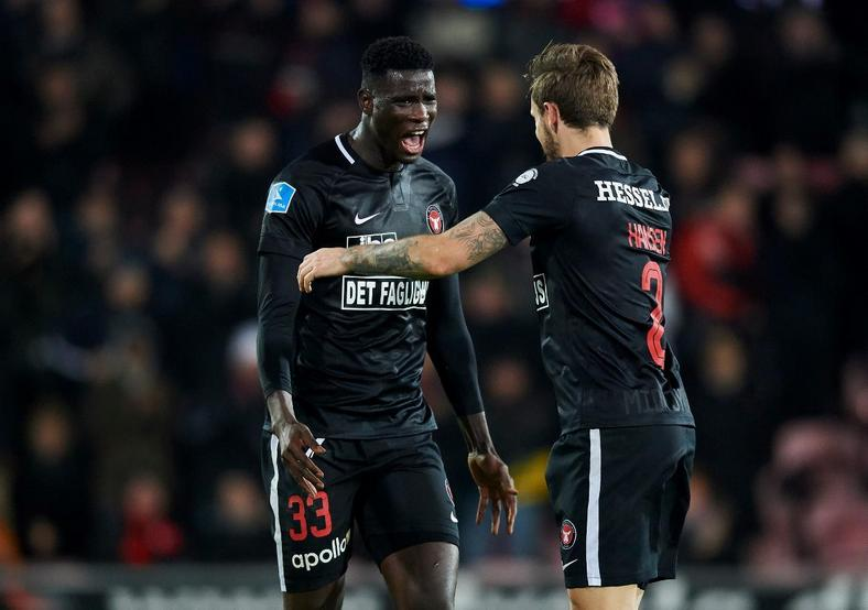 Paul Onuachu who has been in good form in Denmark has been given his first Super Eagles call-up (FC Midtjylland)