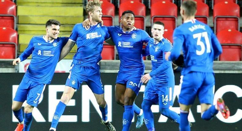 Rangers defender Filip Helander (2nd left)scored the only goal to beat Celtic 1-0 on Sunday Creator: Milan Kammermayer