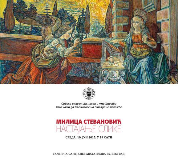 Pozivnica za izložbu Milice Stevanović koja će biti otvorena 10. juna u Galeriji SANU