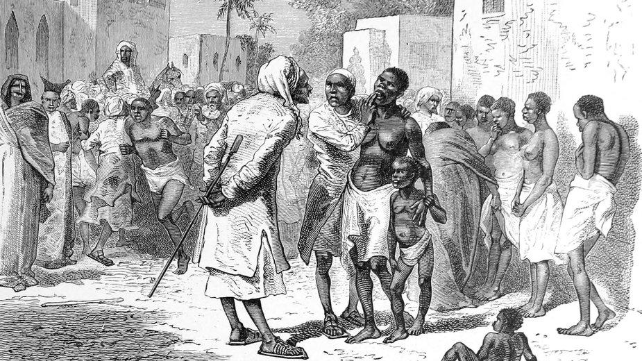 Targ niewolników na Zanzibarze, grafika z XIX w.