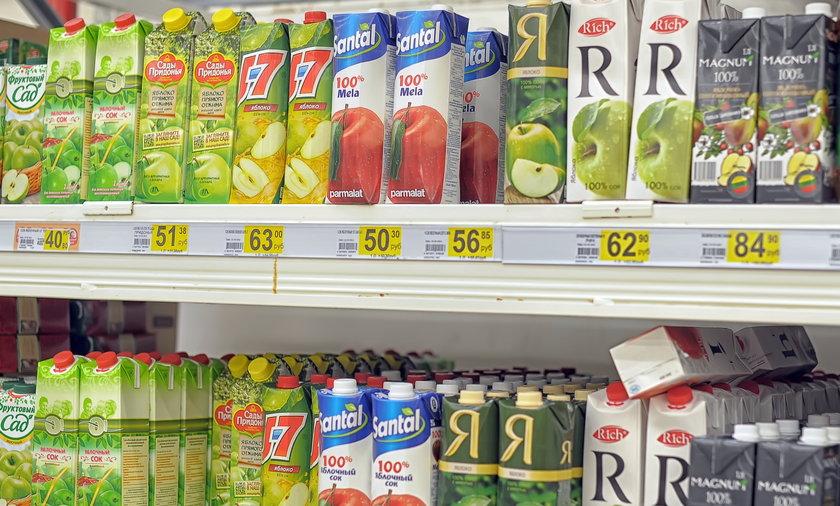 sok, sklep, supermarket, soki, kartony, karton