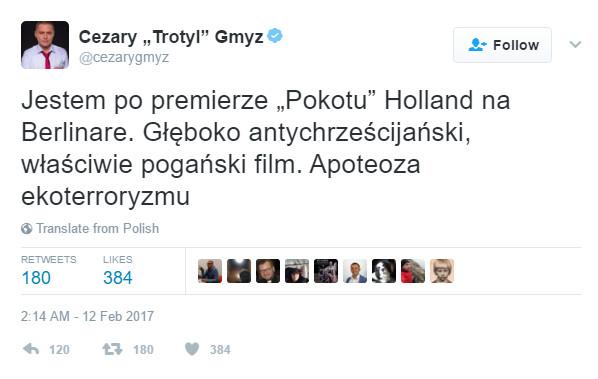 """Cezary Gmyz na Twitterze o """"Pokocie"""""""